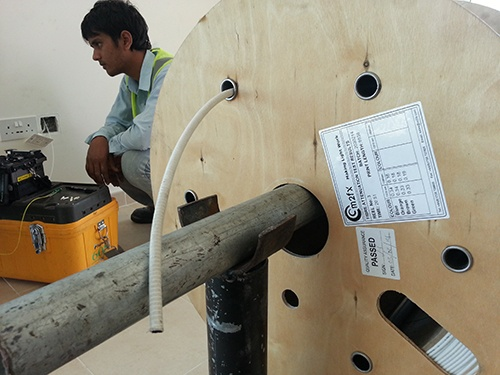 engineer installing Miniflex